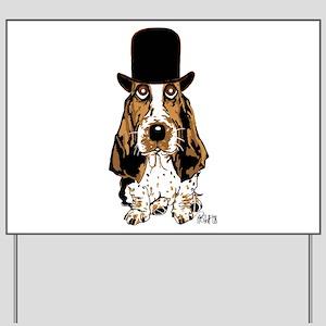 British hat Basset Hound Yard Sign
