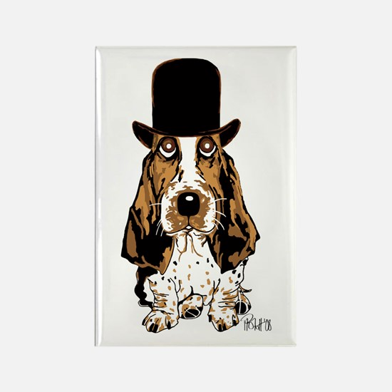 British hat Basset Hound Rectangle Magnet