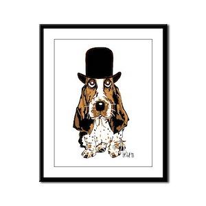 British hat Basset Hound Framed Panel Print