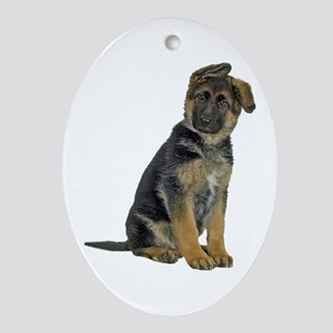 German Shepherd Puppy Oval Ornament