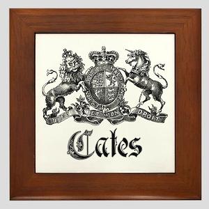 Cates Vintage Last Name Crest Framed Tile