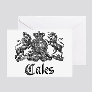 Cates Vintage Last Name Crest Greeting Card