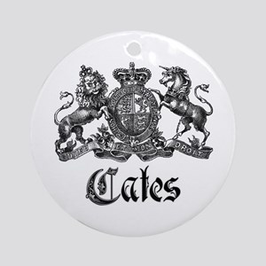 Cates Vintage Last Name Crest Ornament (Round)