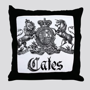 Cates Vintage Last Name Crest Throw Pillow