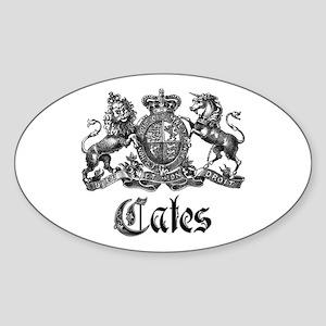 Cates Vintage Last Name Crest Oval Sticker