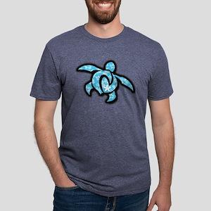 blue hawaiian print turtle T-Shirt