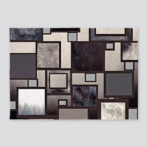 Neutral Colors Textured Geometric 5'x7'Area Rug