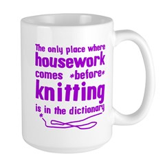 Housework before Knitting Large Mug