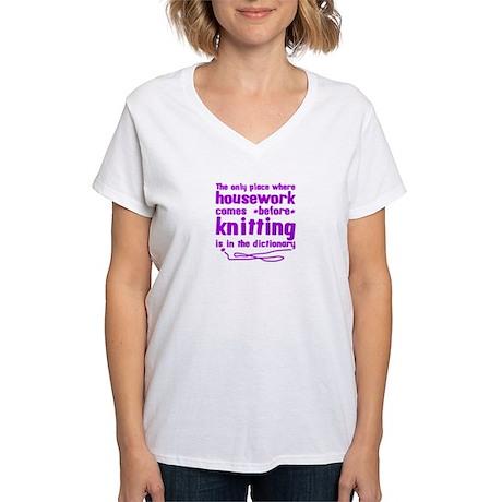 Housework before Knitting Women's V-Neck T-Shirt