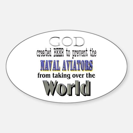 Naval Aviators, God & Beer Oval Decal