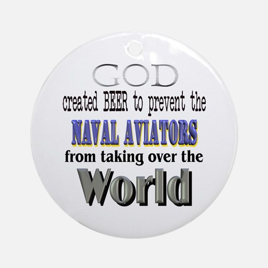 Naval Aviators, God & Beer Ornament (Round)