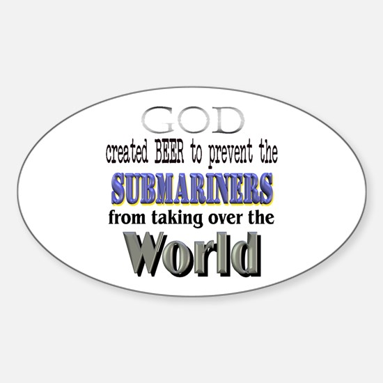 Submariners, God & Beer Oval Decal