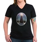 Christmas Peace Women's V-Neck Dark T-Shirt