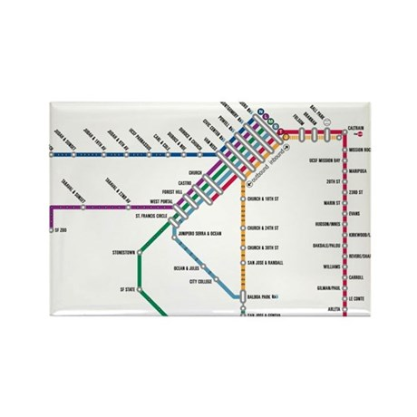 SF MUNI Map Rectangle Magnet (100 pack)