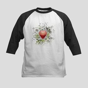 Heart Grunge Flower Kids Baseball Jersey