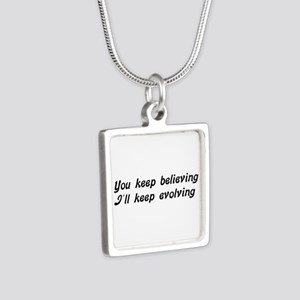 Atheist Statement Silver Square Necklace