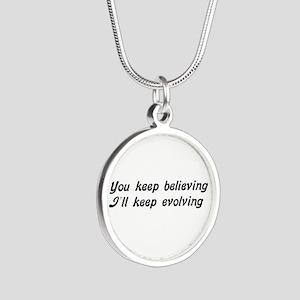 Atheist Statement Silver Round Necklace