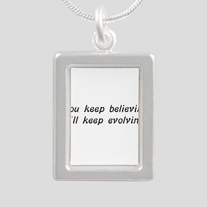 Atheist Statement Silver Portrait Necklace