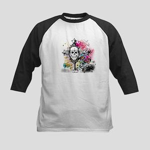 Skull Cross Color Kids Baseball Jersey