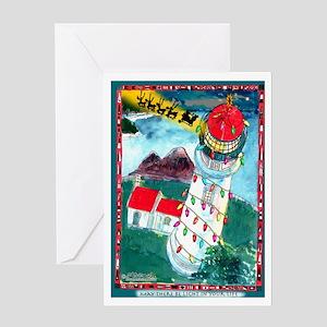 Lighthouse Christmas Lights Greeting Card