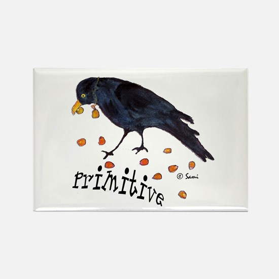 Primitive Crow Rectangle Magnet
