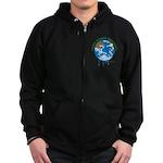 Earth Day : Stop Global Warming Zip Hoodie (dark)