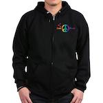 Love & Peace Designs. Rainbow Zip Hoodie (dark