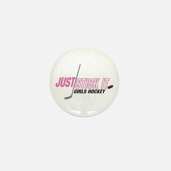 Funny Hockey chick Mini Button