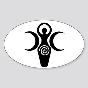 Goddess Crescent Moons Oval Sticker