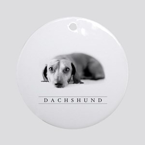 Classic Round Dachshund Holiday Ornament, B/w Art!