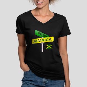 REP JAMAICA Women's V-Neck Dark T-Shirt