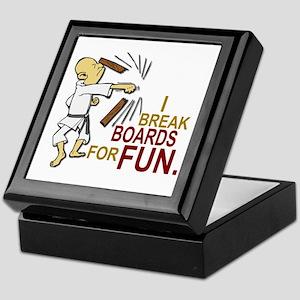 Funny Man Breaking Board 3 Keepsake Box