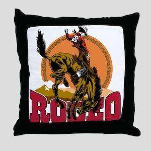 Rodeo Bronco Throw Pillow