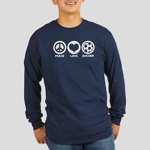 Peace Love Soccer Long Sleeve Dark T-Shirt