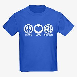 Peace Love Soccer Kids Dark T-Shirt