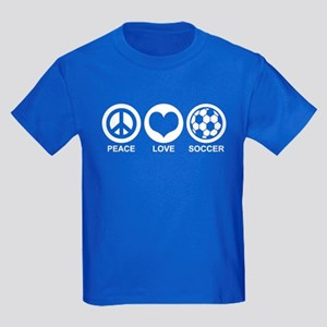 Peace Love Soccer Kids Dark T-Shirt