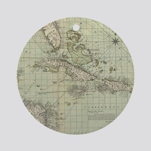 Vintage Map of The Caribbean (1774) Round Ornament