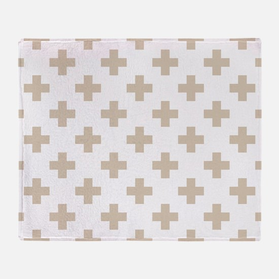 Beige Plus Sign Pattern (Reverse) Throw Blanket