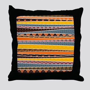 African Tribal Pattern Mix Throw Pillow