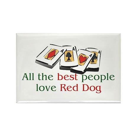 Red Dog Rectangle Magnet (10 pack)