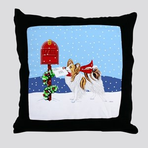 Christmas Papillon Mail Sable Throw Pillow