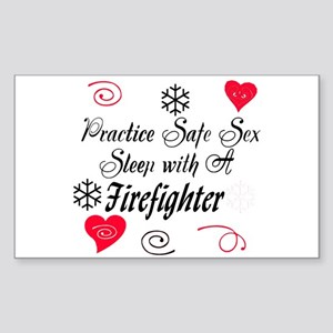 Safe Sex With A Firefighter Rectangle Sticker