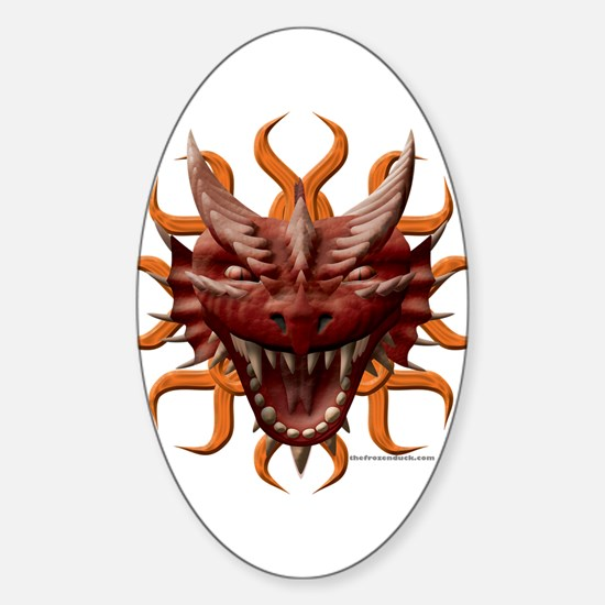 Red Dragon Head Design Oval Decal