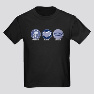 Peace Love Jesus Kids Dark T-Shirt