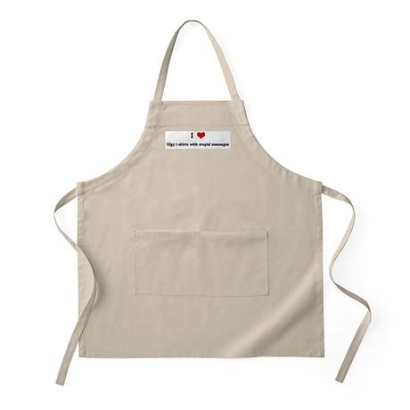 I Love Ulgy t-shirts with stu BBQ Apron