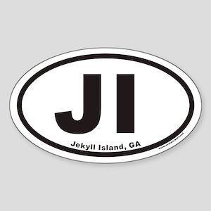Jekyll Island JI Euro Oval Sticker