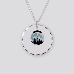 Paragliding Moon Paraglider Necklace Circle Charm