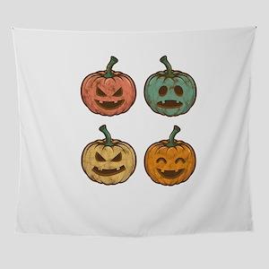 Pumpkin Retro Vintage Style Hallowee Wall Tapestry