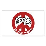 Peace is the word Rectangle Sticker 10 pk)