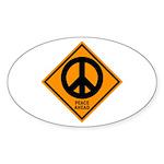 Peace Ahead Oval Sticker (10 pk)